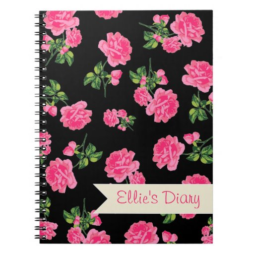 Personalized Pink flowers & stylish black notebook