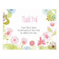 Personalized Pink Flowers Thank You Postcard
