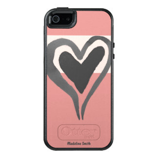 Personalized Pink Funky Watercolor Heart OtterBox iPhone 5/5s/SE Case