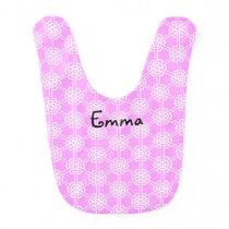 Personalized Pink Geometric Pattern Girls Bib