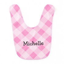 Personalized pink gingham pattern girls baby bib