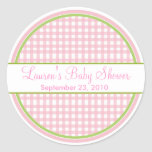 Personalized Pink Gingham Stickers