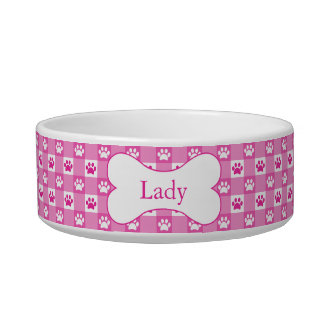 Personalized Pink Gingham with Paws and Bone Bowl