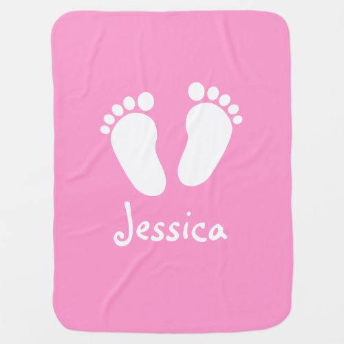 Personalized pink girl footprints baby blanket