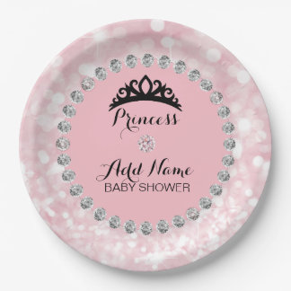 Personalized Pink Girl Princess Baby Shower Paper Plate