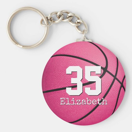 personalized pink girls' basketball gifts keychain