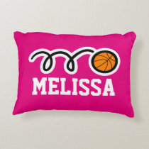 Personalized pink girls basketball throw pillow