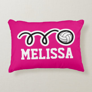 Personalized pink girls volleyball throw pillow
