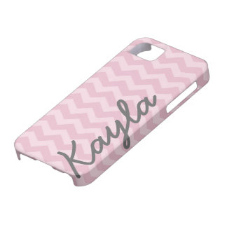 Personalized Pink Girly Chevron Pattern iPhone 5 Covers