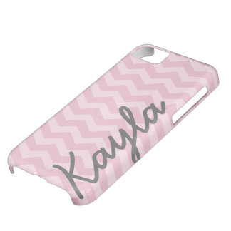 Personalized Pink Girly Chevron Pattern Cover For iPhone 5C