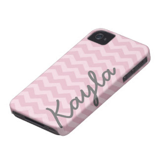 Personalized Pink Girly Chevron Pattern iPhone 4 Cover