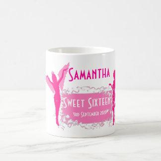 Personalized pink girly sweet sixteen coffee mug