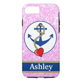 Personalized Pink Glitter Lave Lovers iPhone 8/7 Case