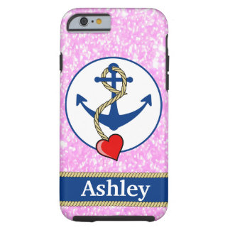 Personalized Pink Glitter Lave Lovers Tough iPhone 6 Case