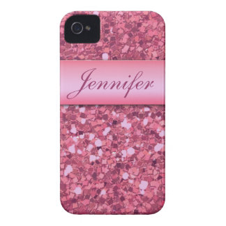 PERSONALIZED PINK GLITTER PRINTED Case-Mate iPhone 4 CASE
