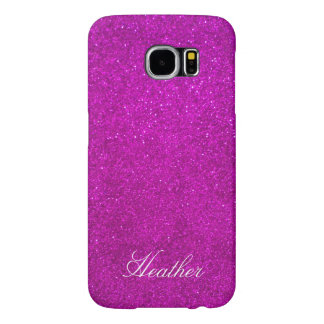 Personalized pink glitter Samsung S6 phone case