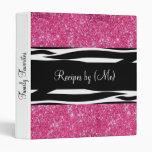 Personalized Pink Glitter Zebra Striped Recipe Binder