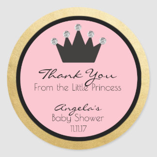 Personalized Pink Gold Princess Baby Shower Labels