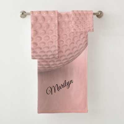 Personalized Pink Golf Ball Sport Bath Towel Set