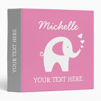 Personalized pink gray binder with baby elephant