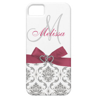 Personalized Pink Gray Damask iPhone 5 Cases