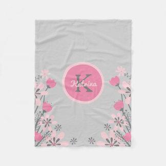 Personalized Pink Gray | Flowers Nursery Girl Fleece Blanket