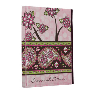Personalized Pink Green Country Paisley Floral iPad Folio Cover
