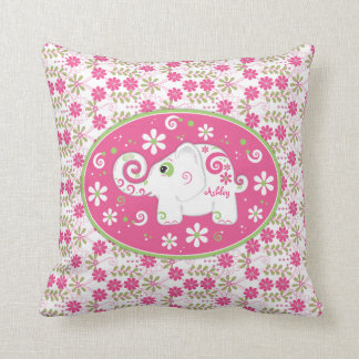 Personalized Pink Green Elephant Daisy Floral Pillow