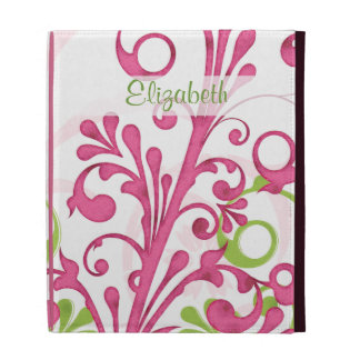 Personalized Pink Green Floral iPad Folio Case