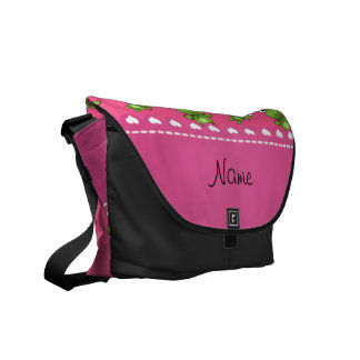Personalized pink green frogs pink heart stripe courier bags