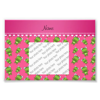 Personalized pink green frogs pink heart stripe photo print