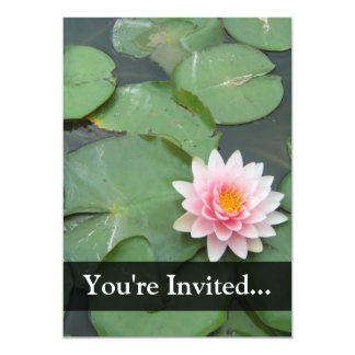 Personalized Pink/Green Lily Pad 5x7 Paper Invitation Card