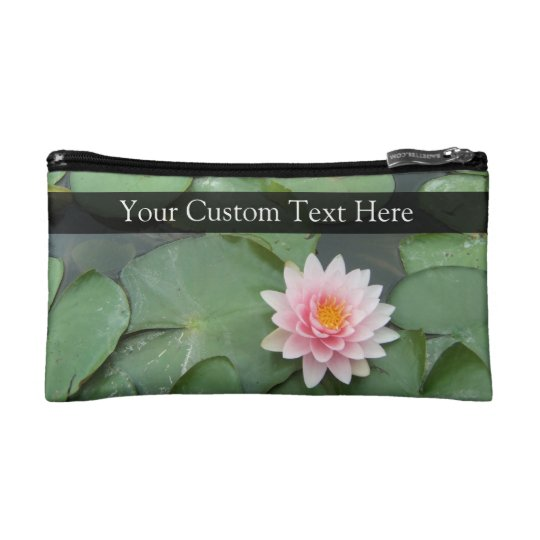 Personalized Pink/Green Lily Pad Cosmetic Bag