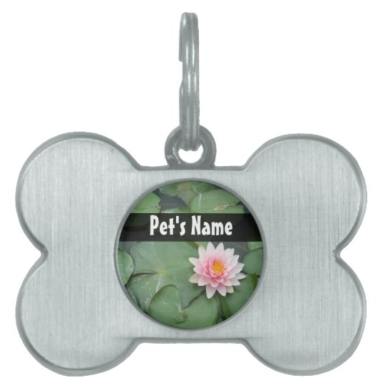 Personalized Pink/Green Lily Pad Pet Name Tag