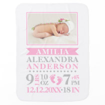 Personalized Pink Grey Baby Girl Birth Stats PHOTO Baby Blanket