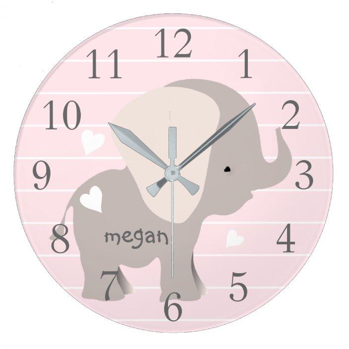 Pink Grey Elephant Nursery Wall Clock