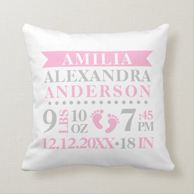 Personalized Pink Grey White BABY Girl Nursery Throw Pillow