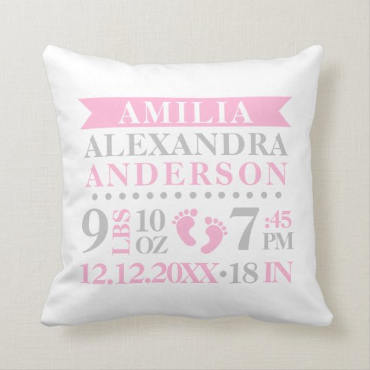 Personalized Pink Grey White Baby Nursery Throw Pillow