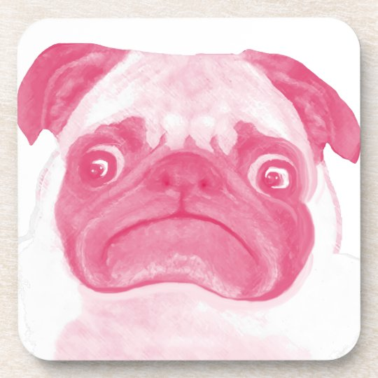 Personalized PINK Grumpy Puggy Beverage Coaster