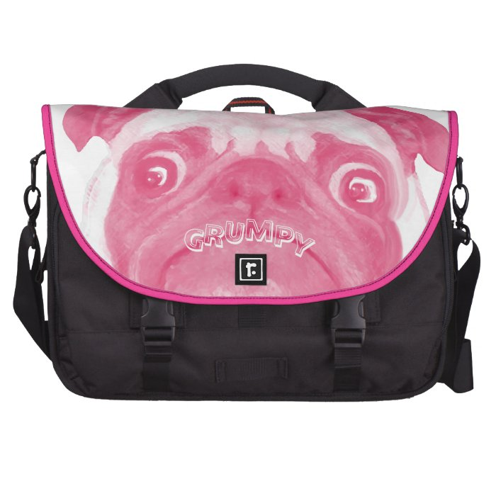 Personalized PINK Grumpy Puggy Laptop Computer Bag