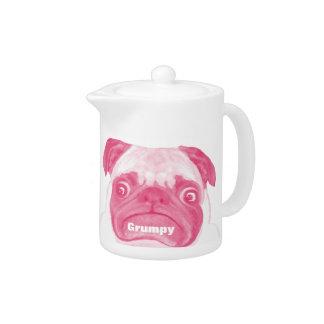 Personalized PINK Grumpy Puggy Teapot