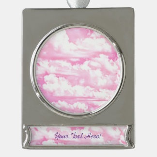 Personalized Pink Happy Clouds Silver Plated Banner Ornament