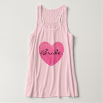 Personalized Pink Heart Bride Tank Top