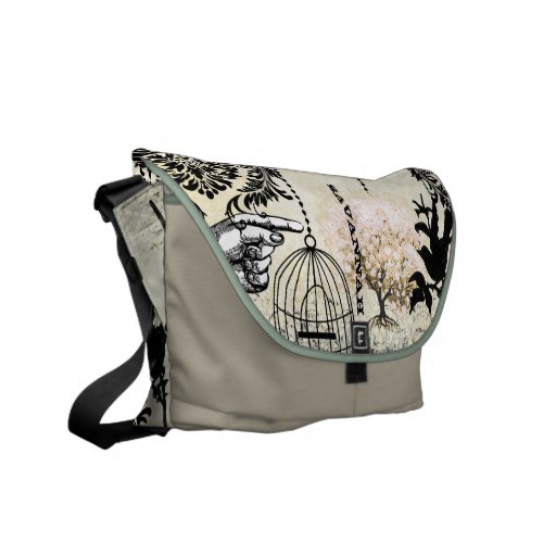 Personalized Pink Heart Leaf Tree Messenger Courier Bag