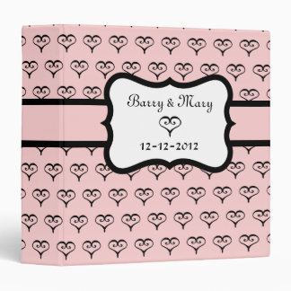 Personalized Pink Heart Wedding Scrapbook 3 Ring Binders