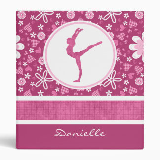 Personalized Pink Hearts and Floral Gymnastics 3 Ring Binder