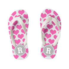 Personalized Pink Hearts Kid's Flip Flops at Zazzle