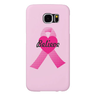 Personalized Pink Hearts Ribbon Breast Cancer Samsung Galaxy S6 Cases