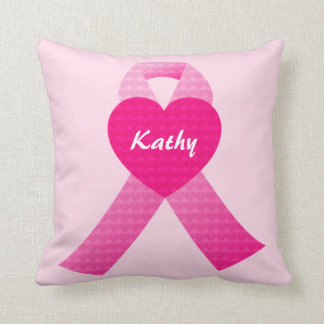 Personalized Pink Hearts Ribbon Breast Cancer Throw Pillow