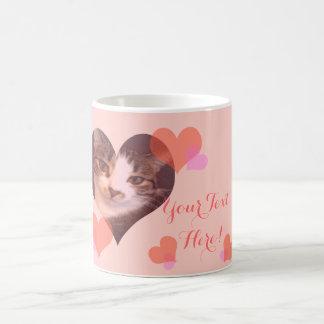 Personalized Pink Hearts Valentine Coffee Mug